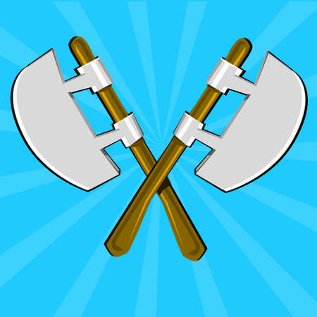 excalibur: Two crossed poleaxes and shield