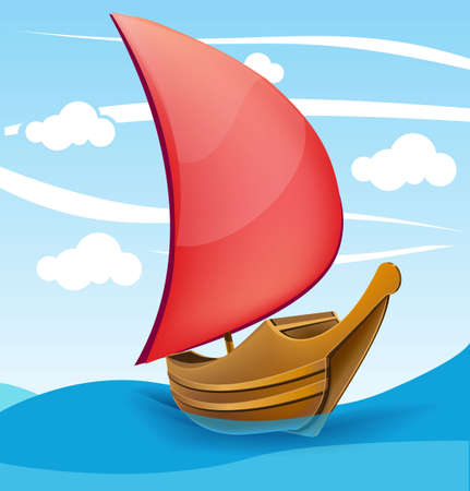 Romantic boat with red sail on a cloudy background Illustration