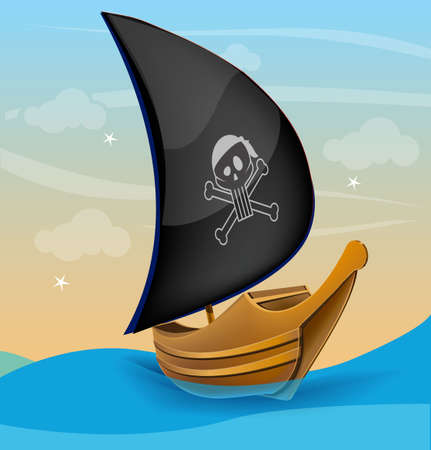 Sail boat with pirate symbol on a sunset Stock Vector - 18269532