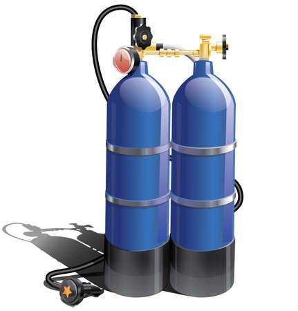 aqualung: Blu autorespiratore per le immersioni subacquee Vettoriali