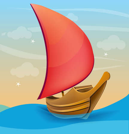 Romantic boat with red sail on a sunset background Vector