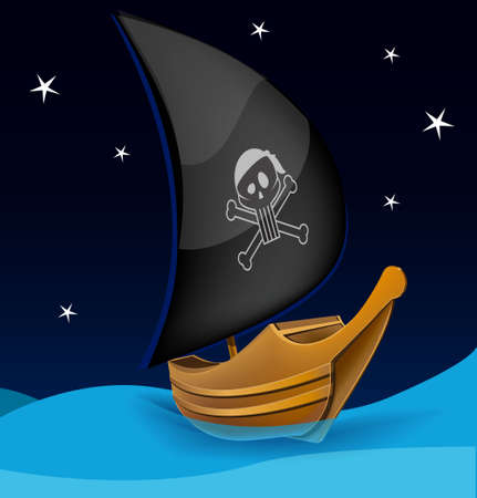 Sail boat with pirate symbol on a night background Stock Vector - 18271017