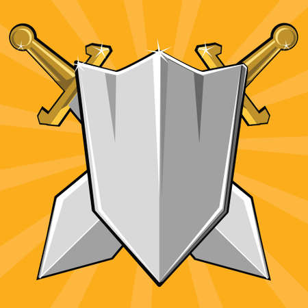 excalibur: Two crossed swords and shield