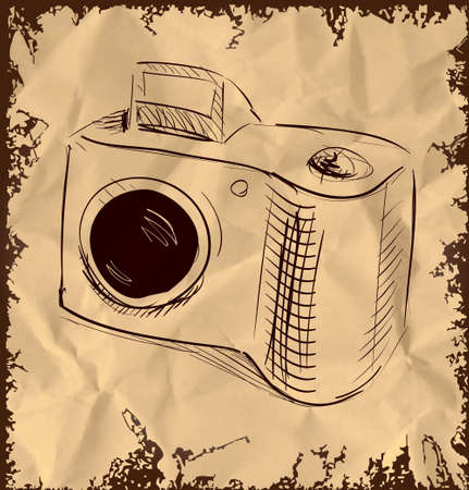 Photo camera isolated on vintage background Stock Vector - 18271030
