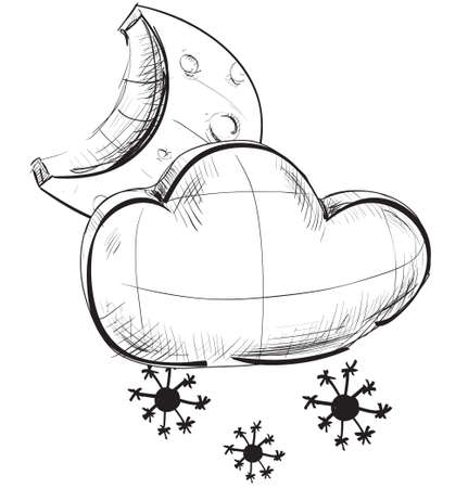 climate change: Cloud with snowflakes and moon weather icon Illustration