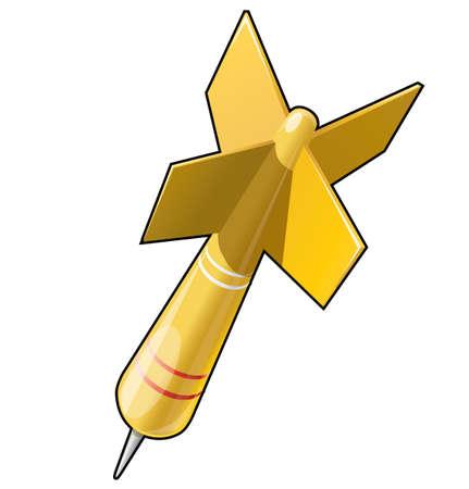 dart on target: Dart target aim yellow illustration Illustration