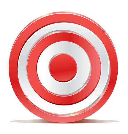 archery: Red darts target aim on white background