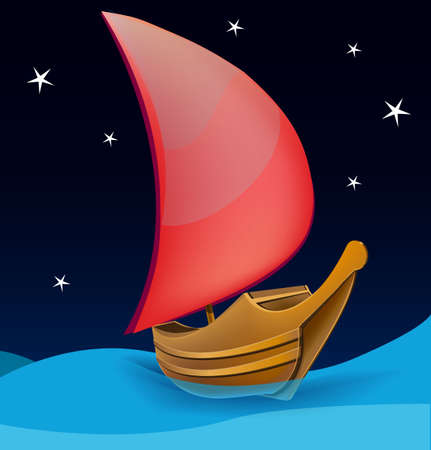 Romantic boat with red sail on a night background Stock Vector - 18447539
