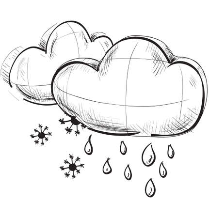 Two clouds with snowflakes and rain drops Stock Vector - 18447515
