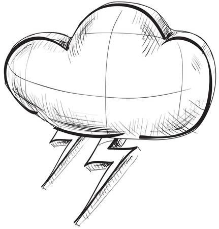 climate change: Cloud with lightnings weather icon Illustration