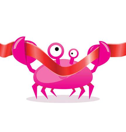 cangrejo caricatura: Cartoon cangrejo corte la cinta roja