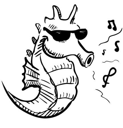Seahorse in sunglasses whistling music Stock Photo - 18447489