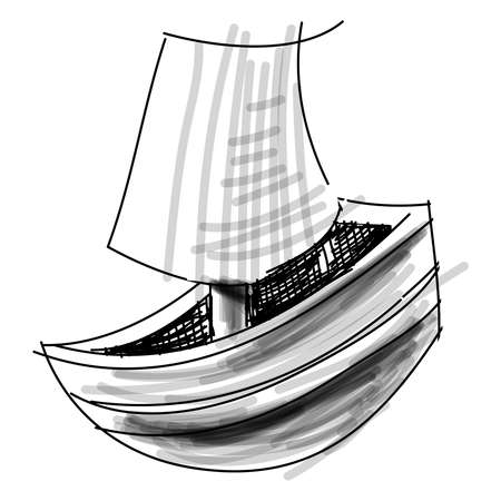 Boat with sail sketch  illustration Stock Vector - 18483939