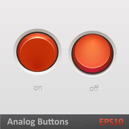 Realistic red toggle switch on off positions Vector