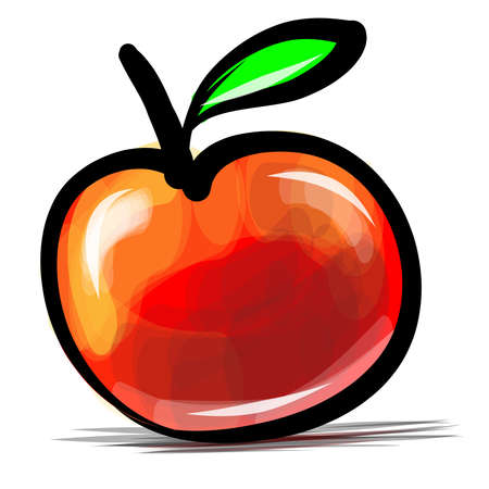 Red apple sketch  illustration Vector