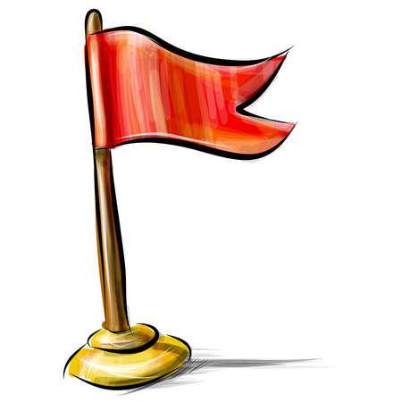 vaincu: Ic�ne de drapeau rouge isol� sur blanc