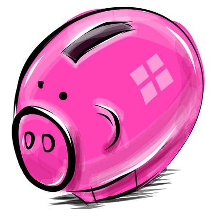 Money box cartoon pig sketch  illustration Vector