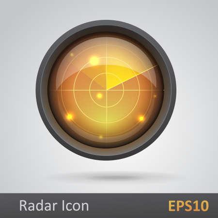 Realistic radar icon  illustration