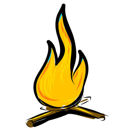 Bonfire simple cartoon doodle image Vector
