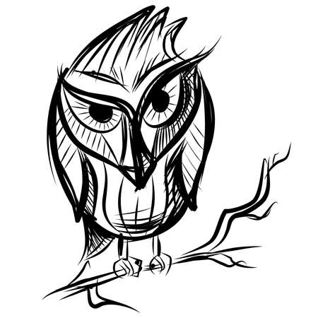 Smart owl on the branch Vector
