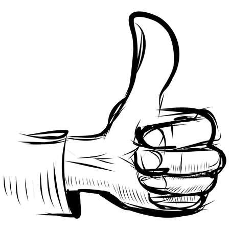 draw well: Thumb up  like  hand symbol