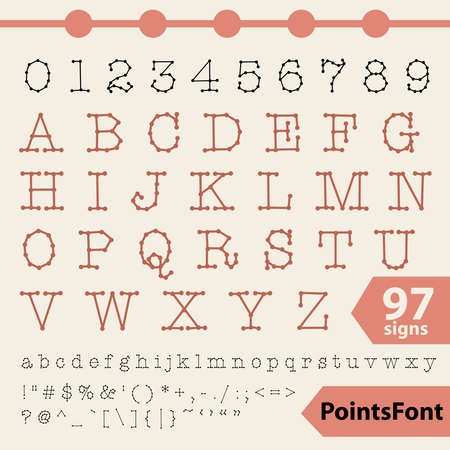 Points font 97  letters, numbers and signs Stock Vector - 18483775