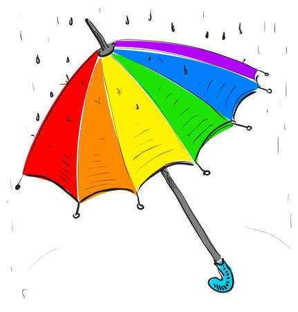 Rainbow umbrella under the rain Vector