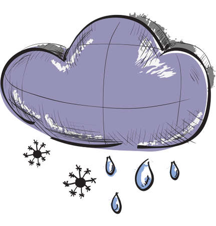 precipitation: Cloud with snowflakes and rain drops weather icon