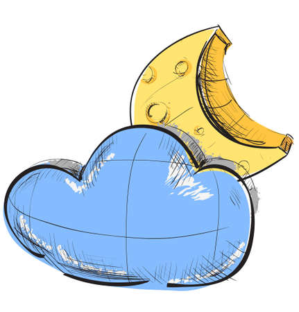 climate change: Cloud and moon weather icon