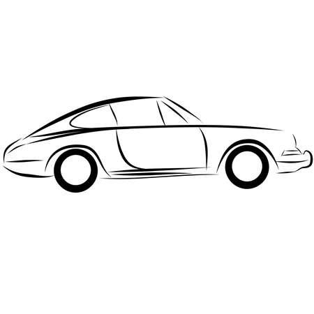カーレースの自動ロゴ ライン アート