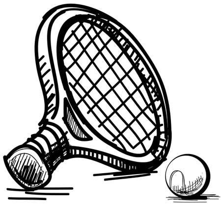 tennis racquet: Equipo de tenis Vectores