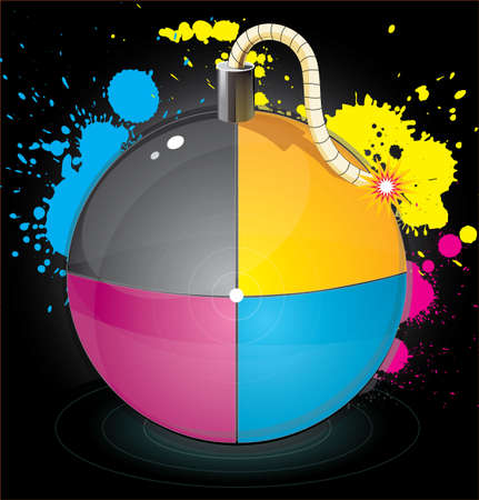 Bomb with colourful splashes Stock Vector - 19013388