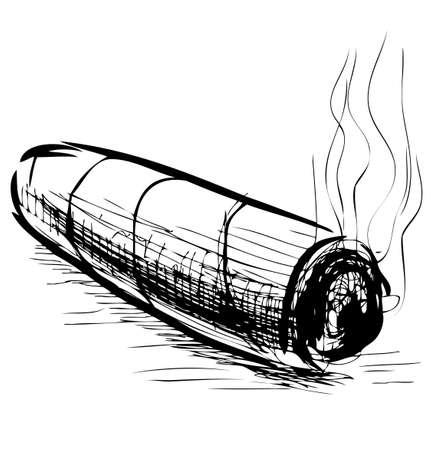 Lighting cigar sketch vector illustration Stock Vector - 19013287
