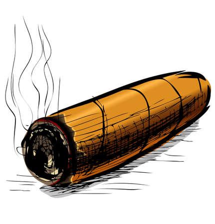 carcinogen: Iluminaci�n cigarro boceto ilustraci�n vectorial Vectores