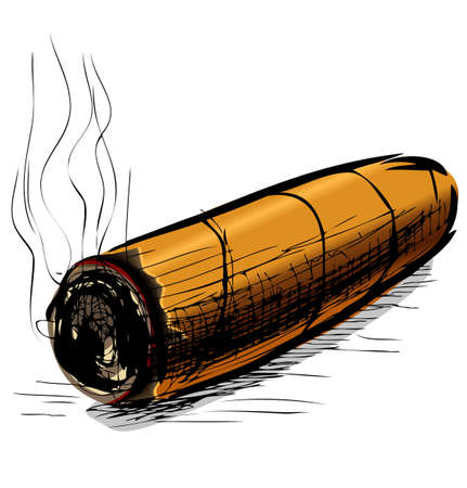 cuban cigar: Lighting cigar sketch vector illustration Illustration