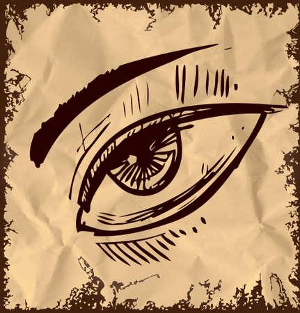 wrinkled brow: Sketch eye isolated on vintage background Illustration
