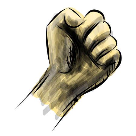 revolt: Strong fist sketch vector illustration