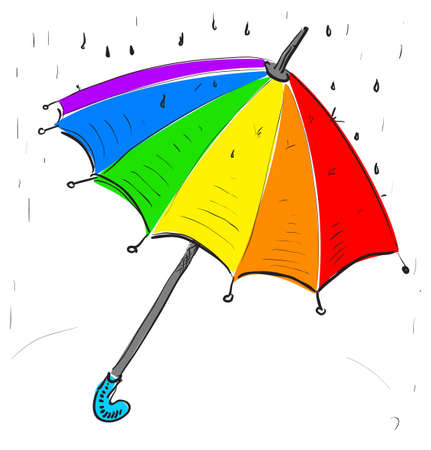 rainbow umbrella: Rainbow umbrella under the rain