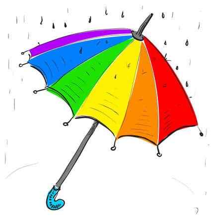 Rainbow umbrella under the rain Stock Vector - 19111388