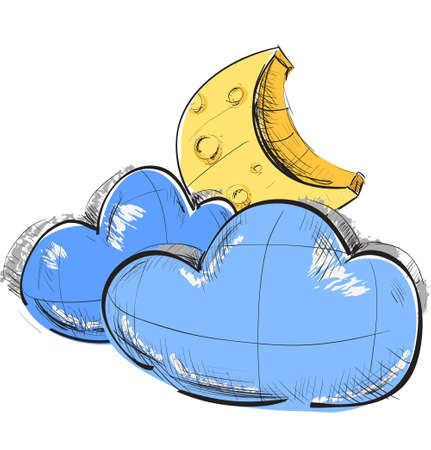 Two clouds and moon weather icon Vector