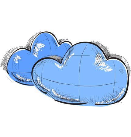 Two blue clouds weather icon Vector