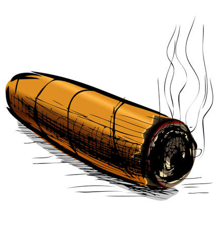 rich flavor: Lighting cigar sketch vector illustration Illustration