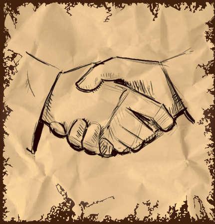 mani che si stringono: Le mani si stringono icona isolato su sfondo d'epoca