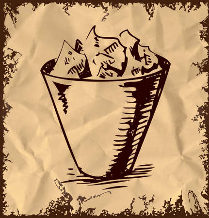Trash bin isolated on vintage background Vector