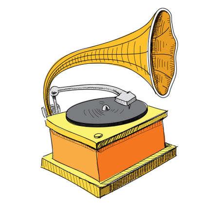 restored: Vintage gramophone isolated on white Illustration