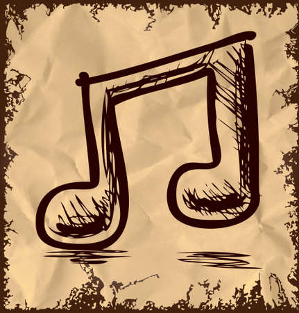 Double music note isolated on vintage background Stock Vector - 19111467