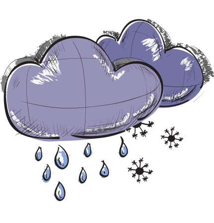 precipitation: Two clouds with snowflakes and rain drops