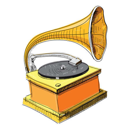 restored: Vintage gramophone isolated on white Illustration