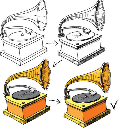 restored: Vintage gramophone sketching progress
