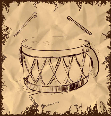 Cartoon drum isolated on vintage background Vector